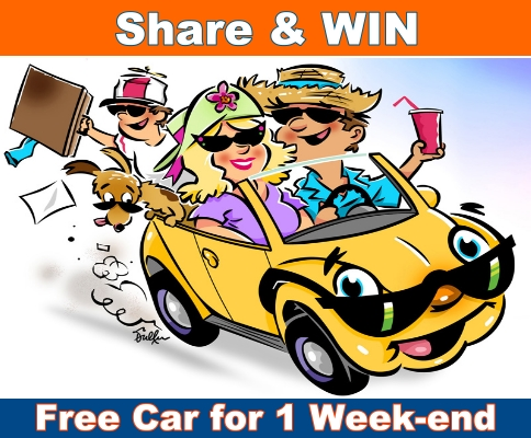 Share and Win a Car For an entire Weekend to spend it as you want!